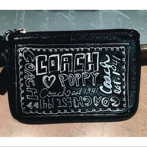 Authentic COACH Poppy Black Graffiti Wristlet